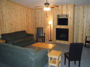 Living room with Hide-a-Bed couch, regular couch, rocking chairs and living room chairs.  Gas Fireplace; High Definition Cable TV with DVD/VHS players.  There is also a Sunroom located at the opposite end of the cabin with additional living room type seating.