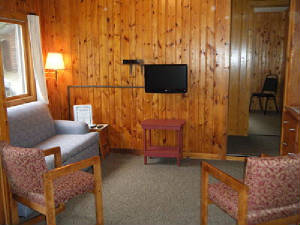 Cabin #9 TV area with Twin Size Hide-a-bed couch.  High Definition Cable TV with DVD player.
