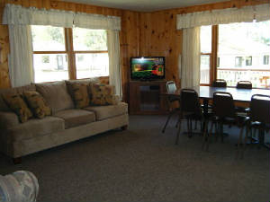 Lakeside large picture window is located in the dining area.  Great view!  High Definition Cable TV with DVD/VHS players