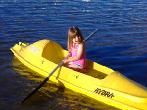 Kayaking on the Lake is a great activity for all ages!  We have 6 single kayaks and 1 double (2 person) kayak for use.  Many people like to kayak around the island in front of our resort.  Kayaking is great exercise - you might discover some normally-unused-muscles!